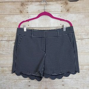 Ann Taylor Scalloped Shorts. Navy/ Cream Polka Dot